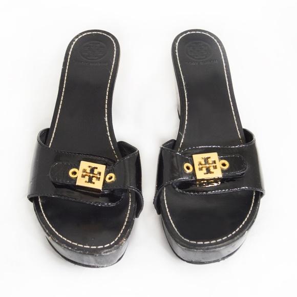 37cb8082f Tory Burch Black ROSIE Patent Wedge Slide Sandals.  M 5bb4748e8ad2f9317a3b8102